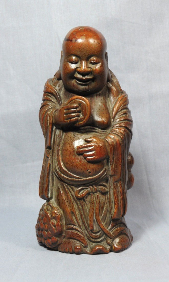 2200: Nice  Carved  Bamboo  Louhan  Figure