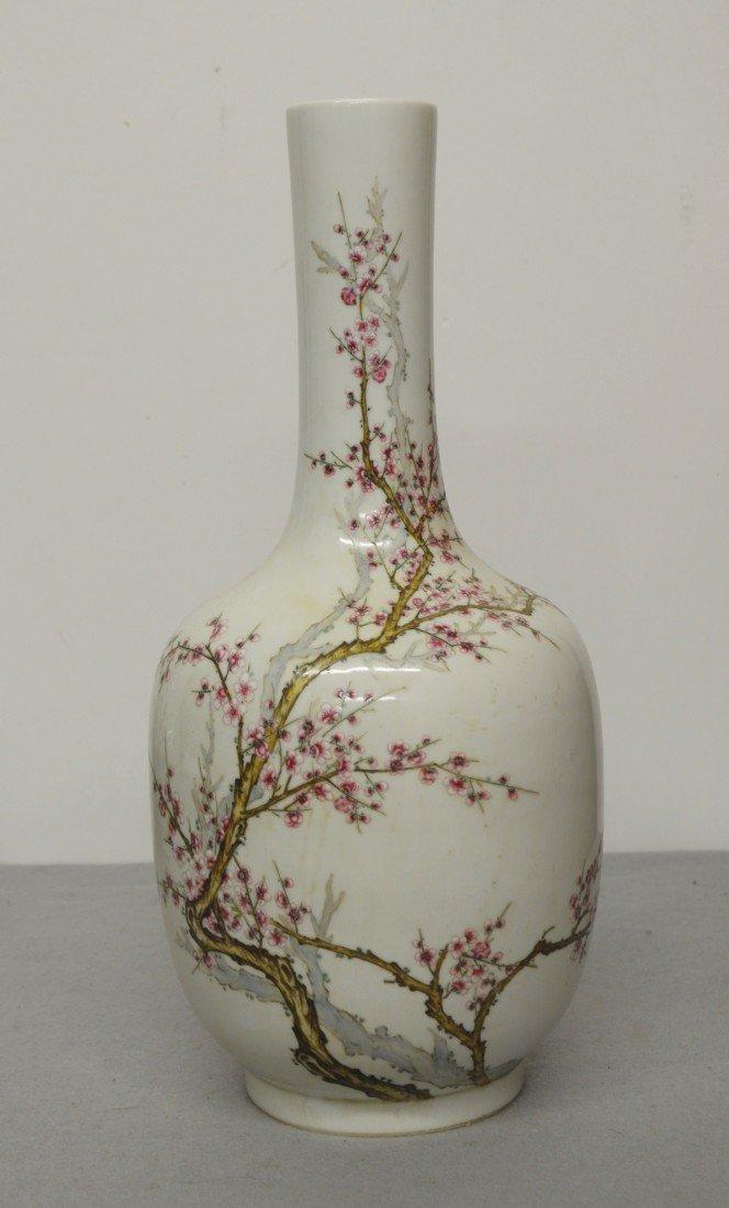 2352: Chinese  Famille  Rose  Long  Neck  Porcelain  Va