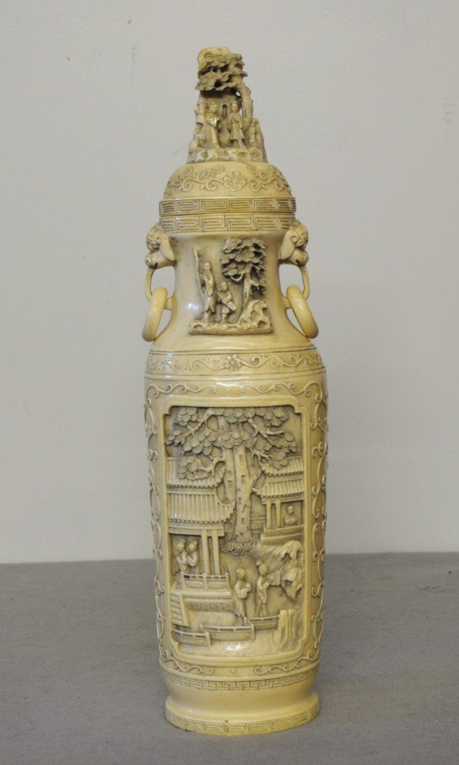 2453: Nice  Carved  Chinese  Ivory  Vase  with  cover