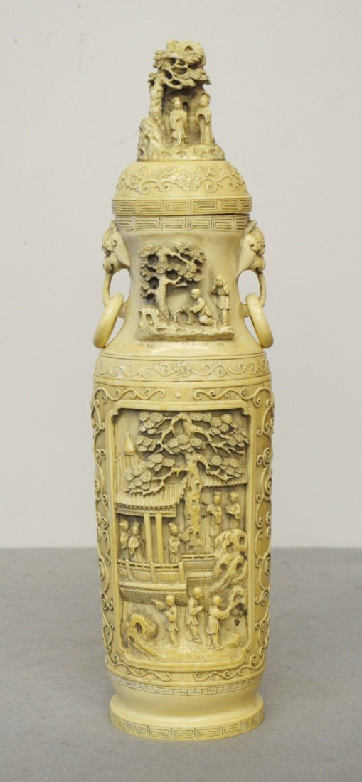 2454: Nice  Carved  Chinese  Ivory  Vase  with  cover