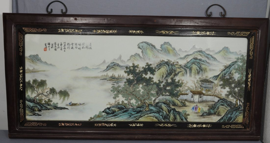 2471: Large  Chinese  Famille  Rose  Porcelain  Plaque