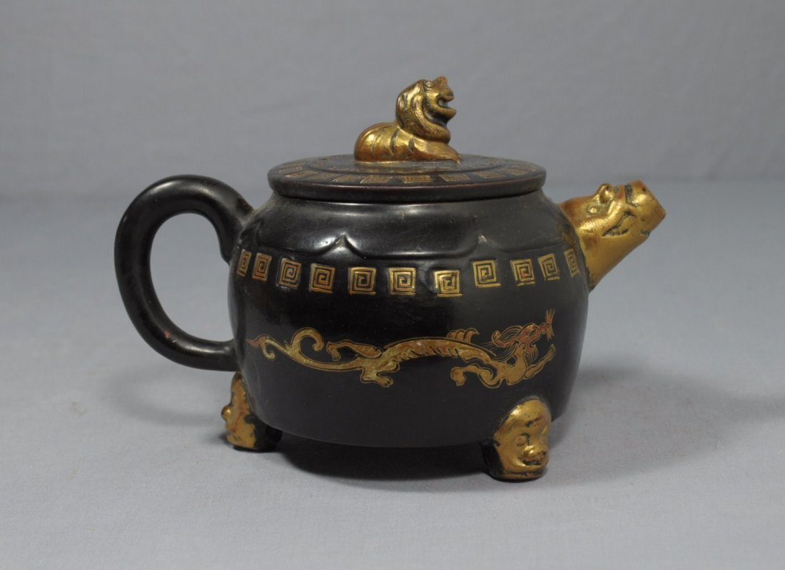 2863: Chinese  Painted  Ceramic  Teapot  with  mark