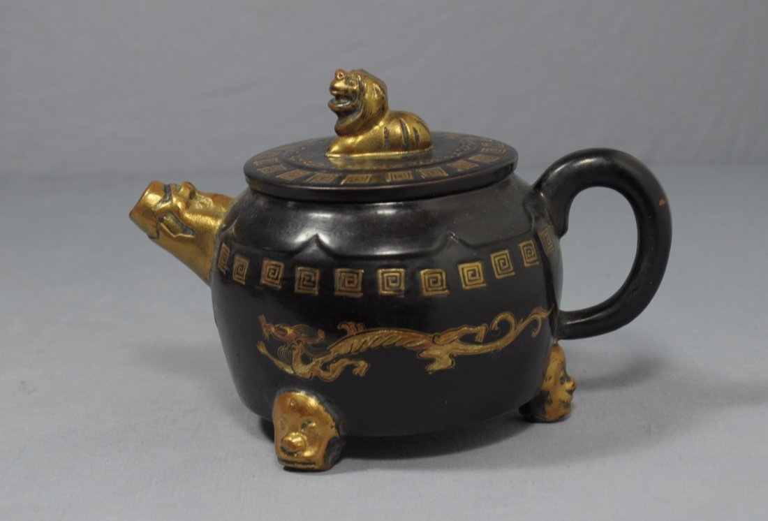 2863: Chinese  Painted  Ceramic  Teapot  with  mark - 2
