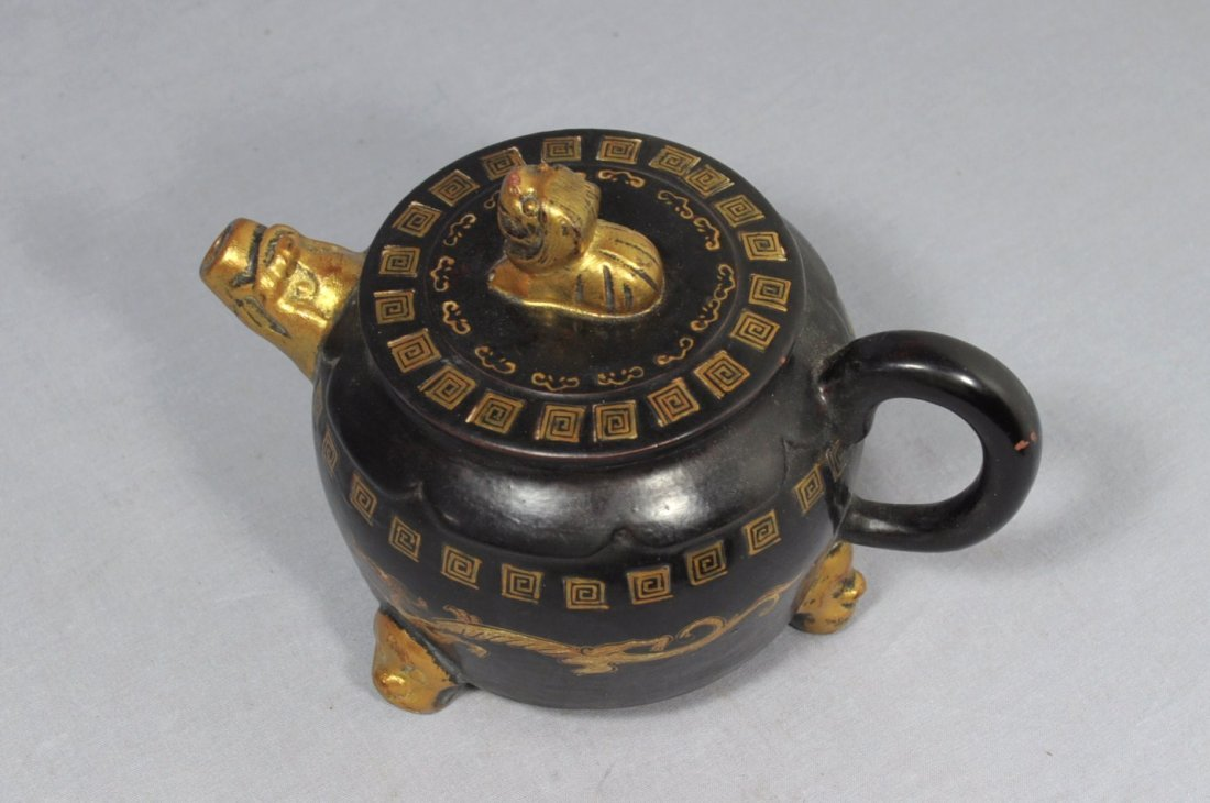 2863: Chinese  Painted  Ceramic  Teapot  with  mark - 3