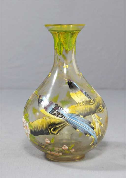 2872 Small Chinese Painted Peking Glass Vase