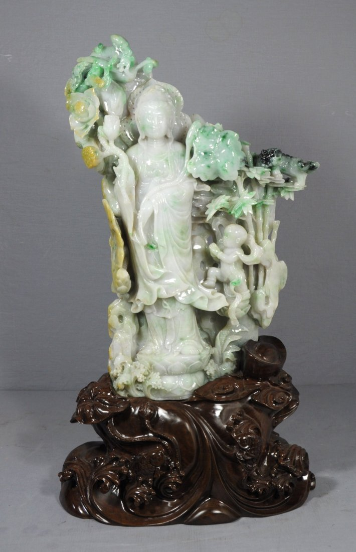3001: Large  Well  Carved  Chinese  Jadeite  Kwan-Yin