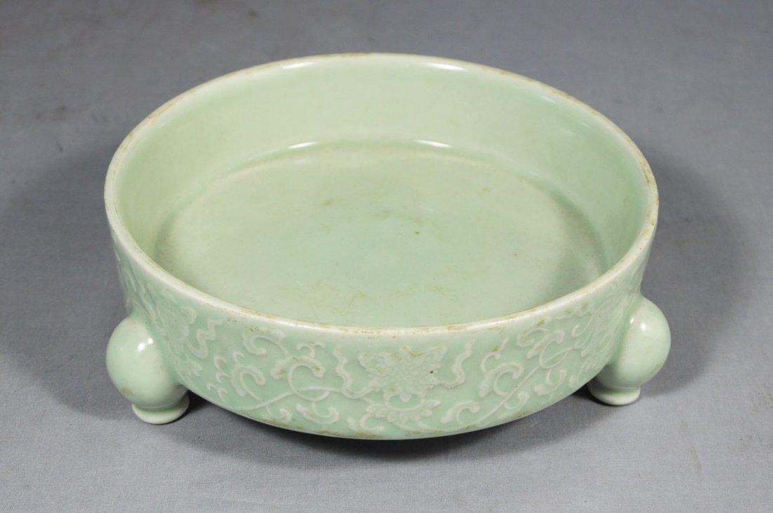 3030: Chinese  Celadon  Tripod  Porcelain  Brush  Washe
