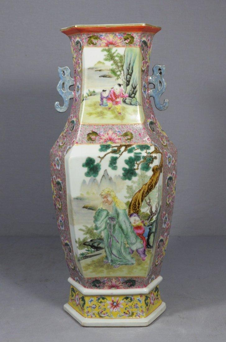 3061: Large  Chinese  Famille  Rose  Porcelain  Vase
