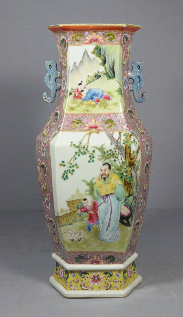 3061: Large  Chinese  Famille  Rose  Porcelain  Vase - 3