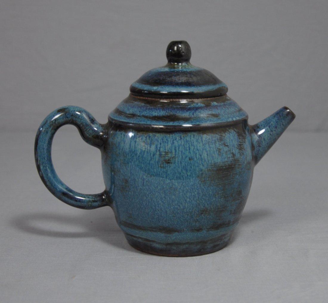 3113: Chinese Monochrome  Blue  Glaze  Ceramic Teapot w