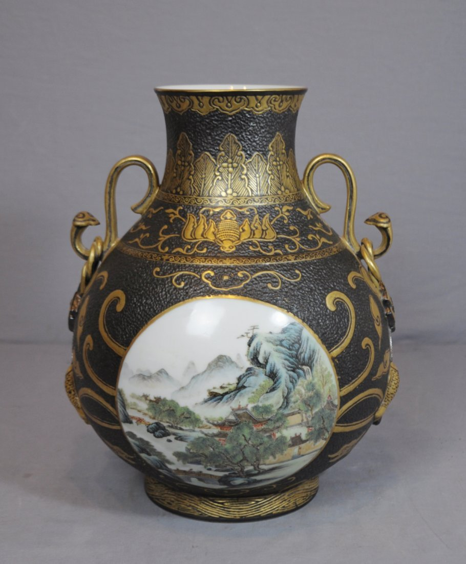3318: Chinese  Blue  Glaze  with  Famille  Rose  Vase