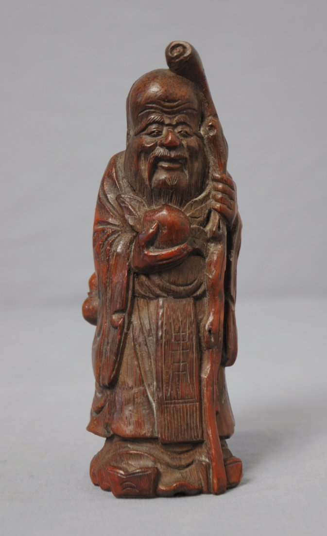 3566: Well  Hand  Carved  Chinese  Bamboo  Longevity