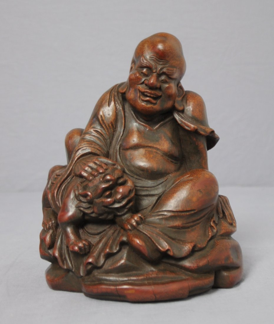 3572: Well  Hand  Carved  Chinese  Bamboo  Louhan  Figu