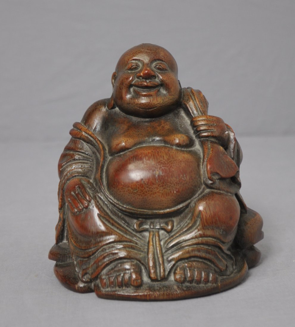 3576: Well  Hand  Carved  Chinese  Bamboo  Figure