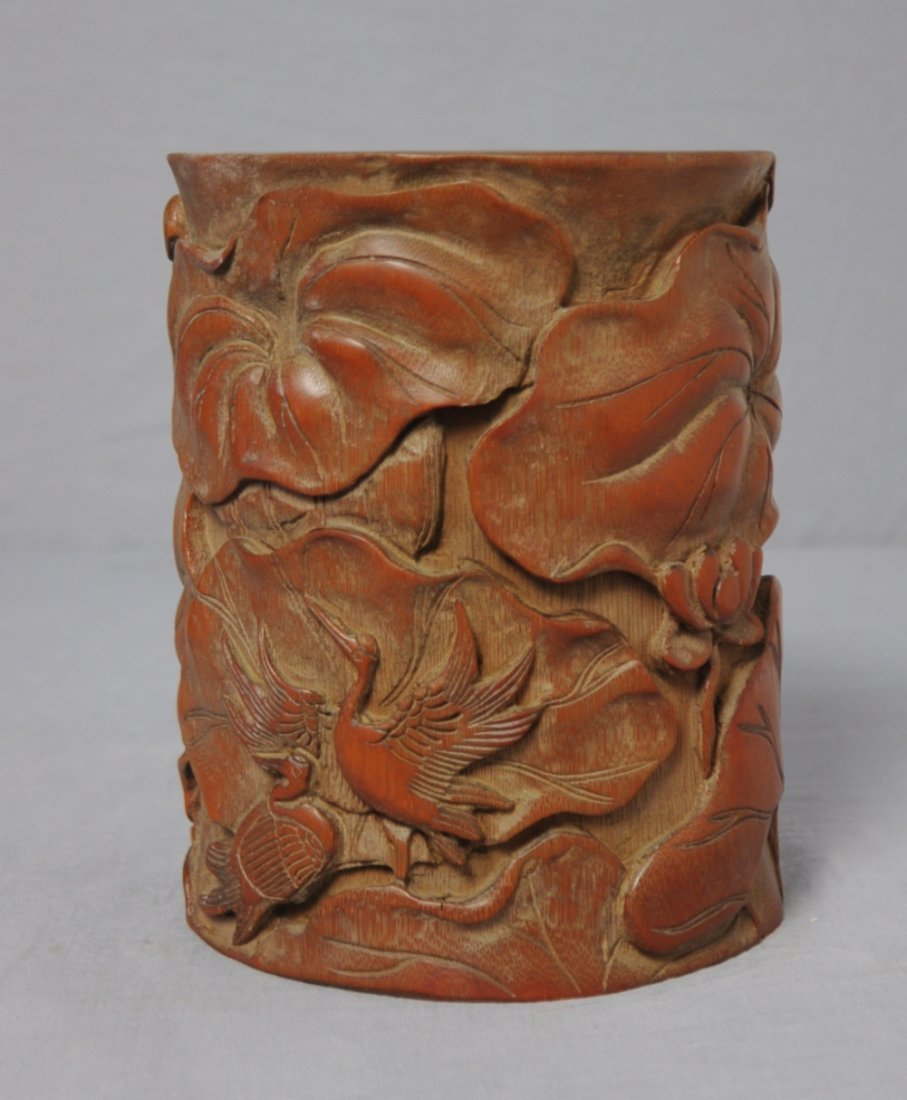 3577: Nice  Hand  Carved  Chinese  Bamboo  Penholder