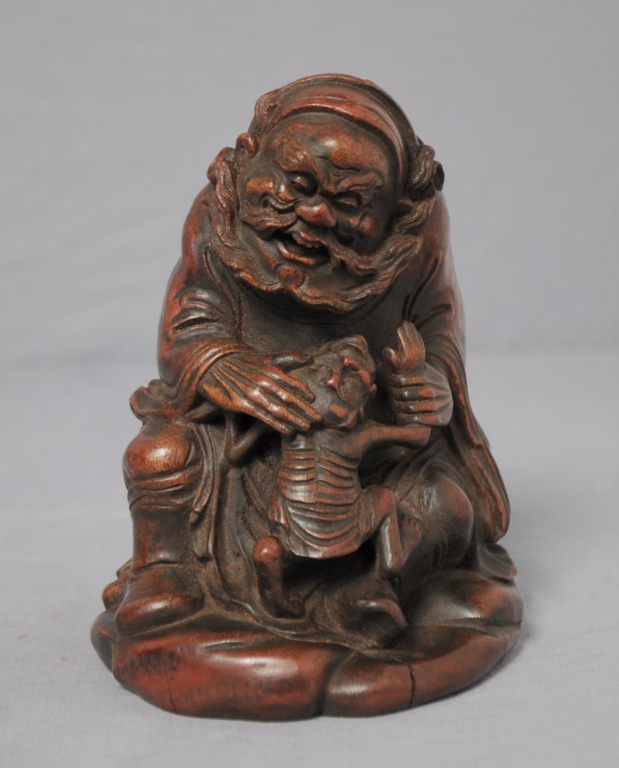 3578: Well  Hand  Carved  Chinese  Bamboo  Figure