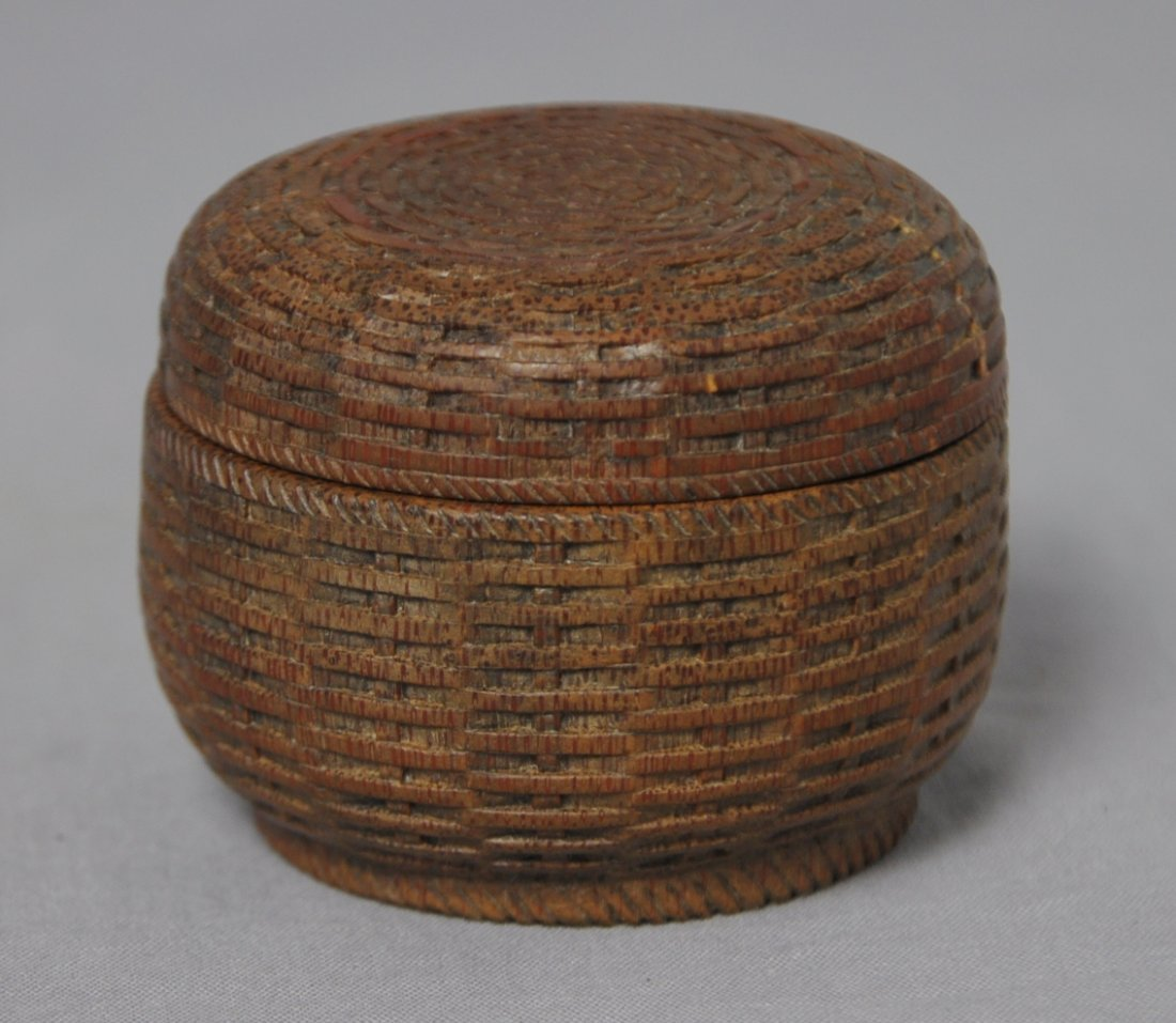 3580: Well  Hand  Carved  Chinese  Bamboo  Box