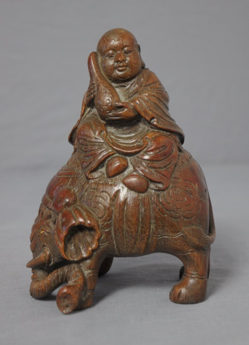 3581: Nice  Hand  Carved  Chinese  Bamboo  Figure