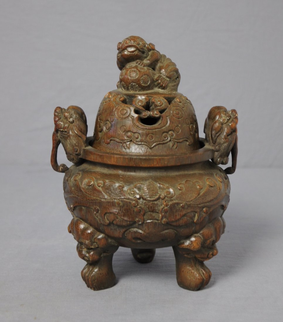 3582: Well  Hand  Carved  Chinese  Bamboo  Censer