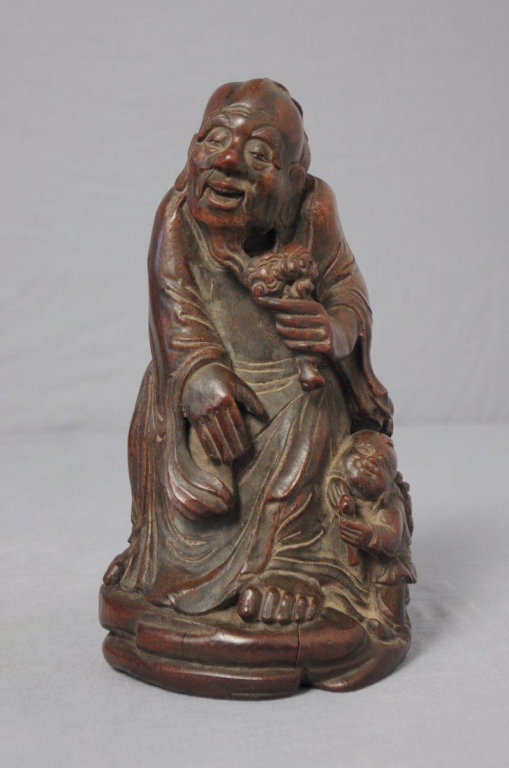 3583: Well  Hand  Carved  Chinese  Bamboo  Figures