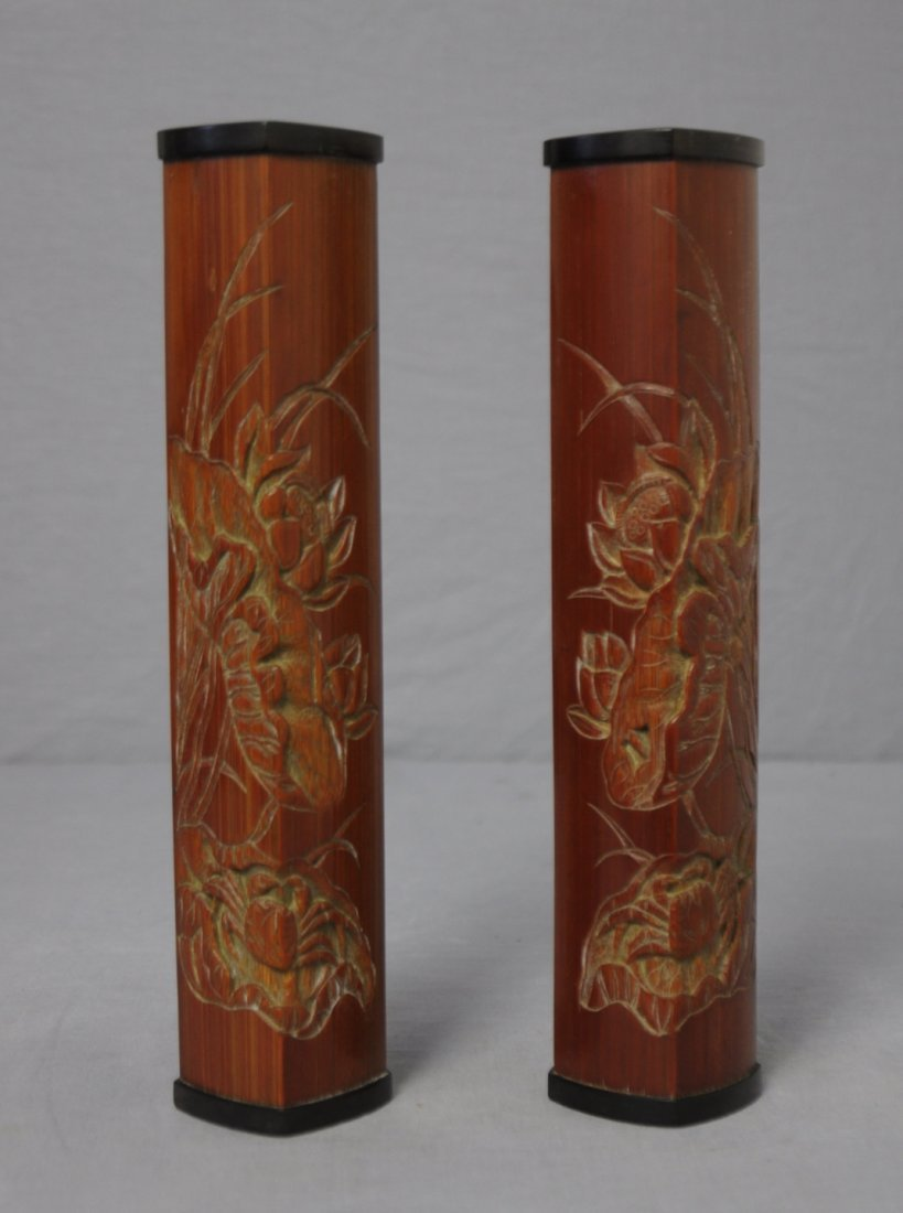 3584: Two  Carved  Chinese  Bamboo  Incense  Holders