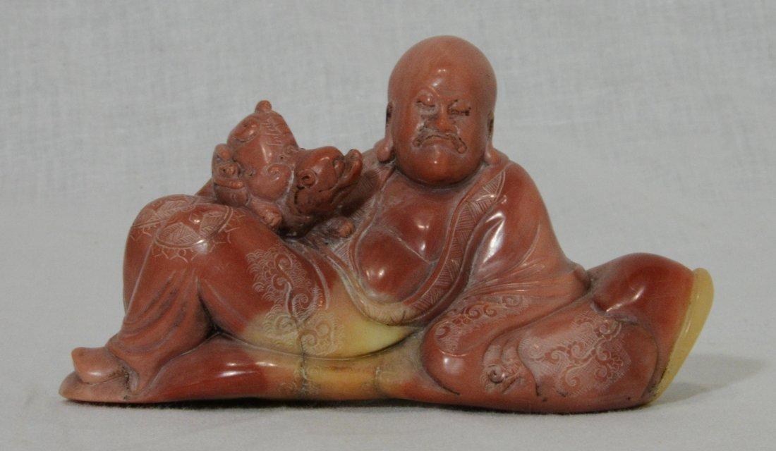 Nice Hand Carved Chinese Shou-Shan Stone Figure