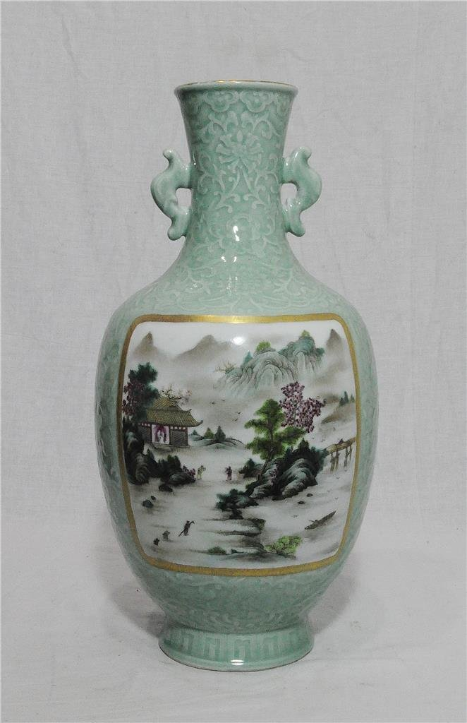 Chinese Green Celadon Porcelain Vase With Mark