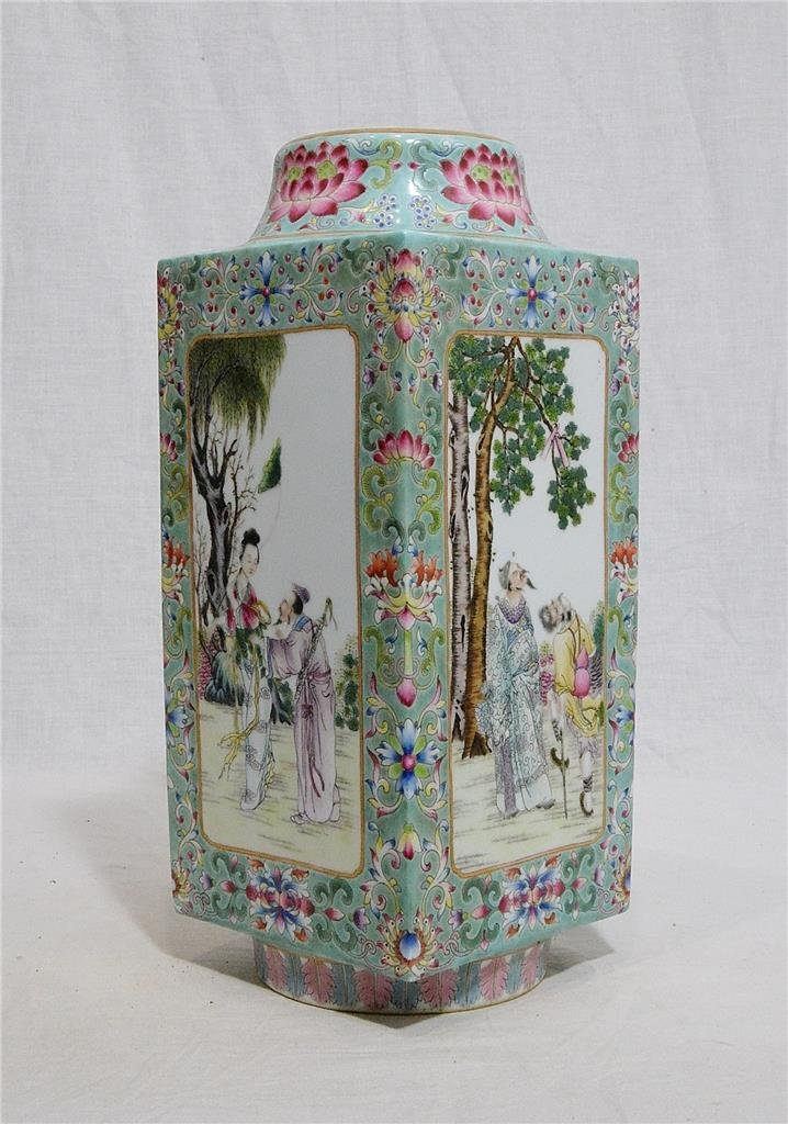 Chinese Famille Rose Porcelain Square Vase With Mark