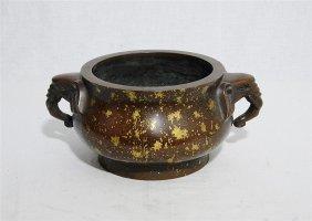 Large Gold Splash Bronze Incense Burner With Mark