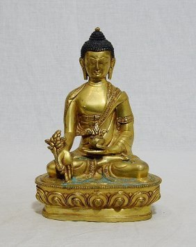 Sino-tibetan Gilt Bronze Seated Buddha Figure