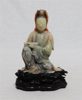 Well Hand Carved Chinese Shou-shan Sone Kwan-yin Figur
