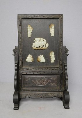 Nice Hand Carved Chinese Jade Inset Table Screen
