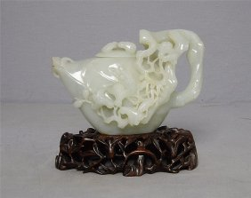 Well Hand Carved Chinese He-tian White Jade Teap