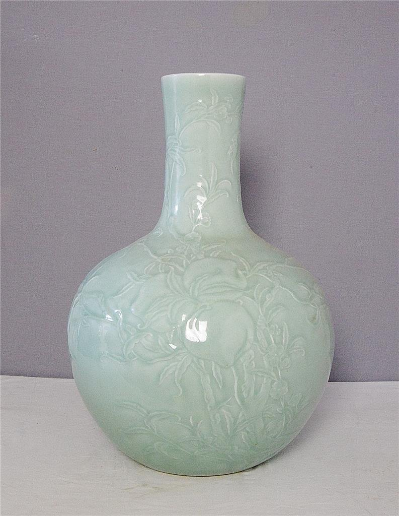 Large Chinese Monochrome Green Glaze Porcelain Ball Vas