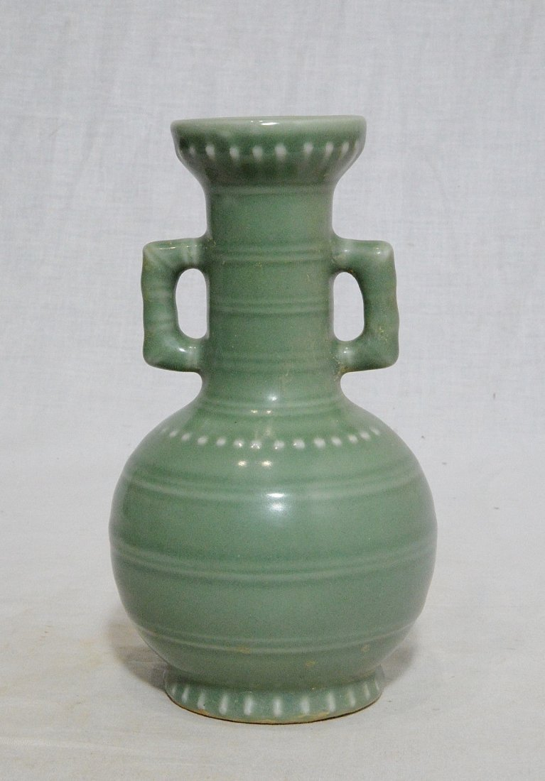 Small Chinese Green Celadon Porcelain Vase - 3