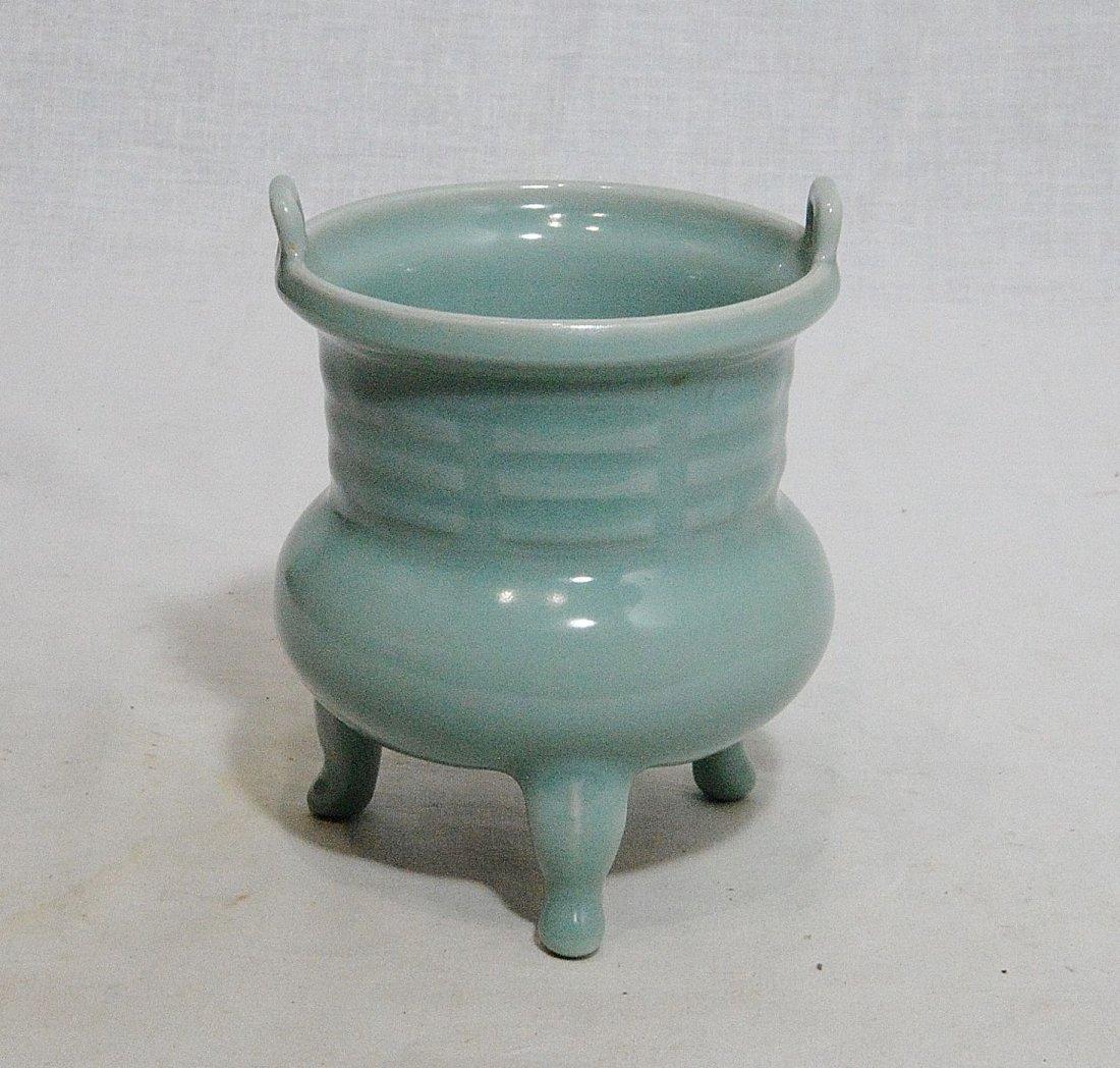 Chinese Tripod Celadon Porcelain Incese Burner