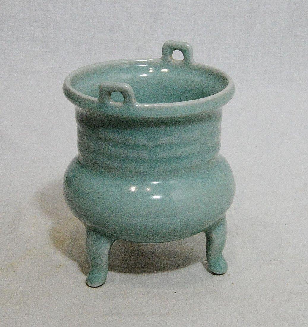 Chinese Tripod Celadon Porcelain Incese Burner - 2