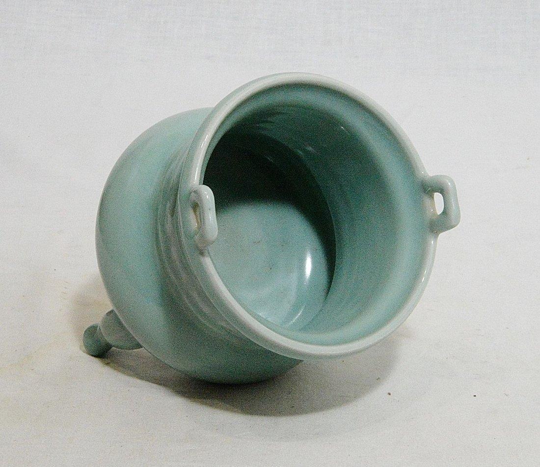 Chinese Tripod Celadon Porcelain Incese Burner - 4