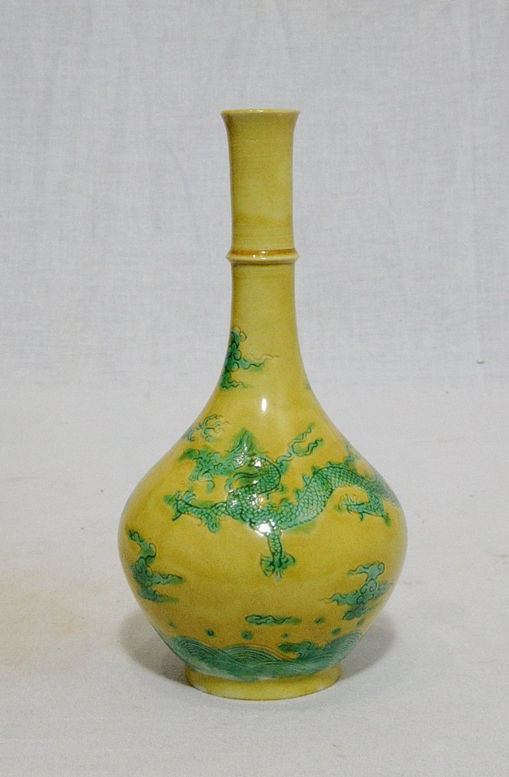 Chinese Monochrome Yellow Glaze Porcelain Long Neck Vas