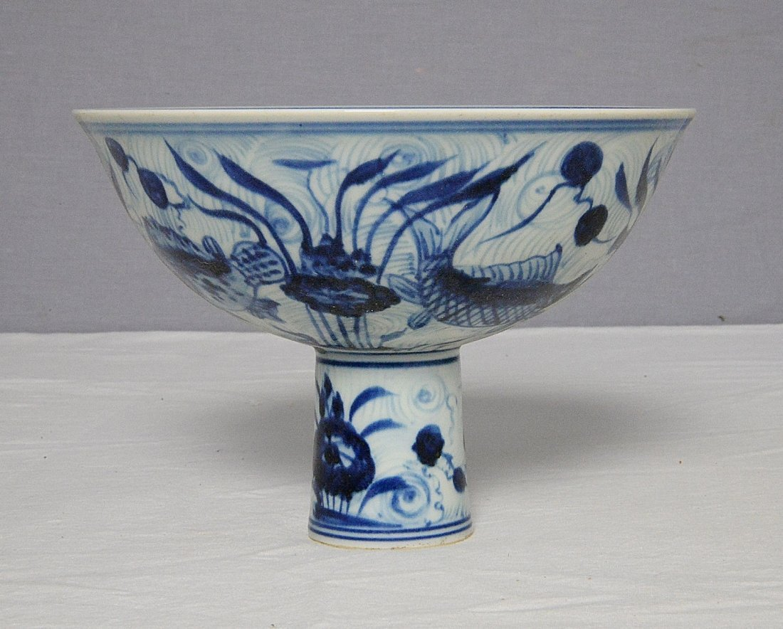 Chinese Blue and White Porcelain Stamp Cup With Mark - 2