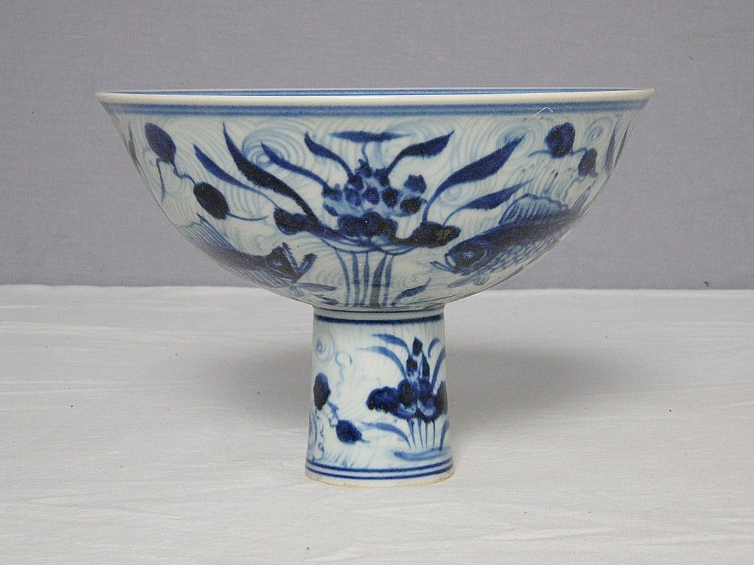 Chinese Blue and White Porcelain Stamp Cup With Mark - 3