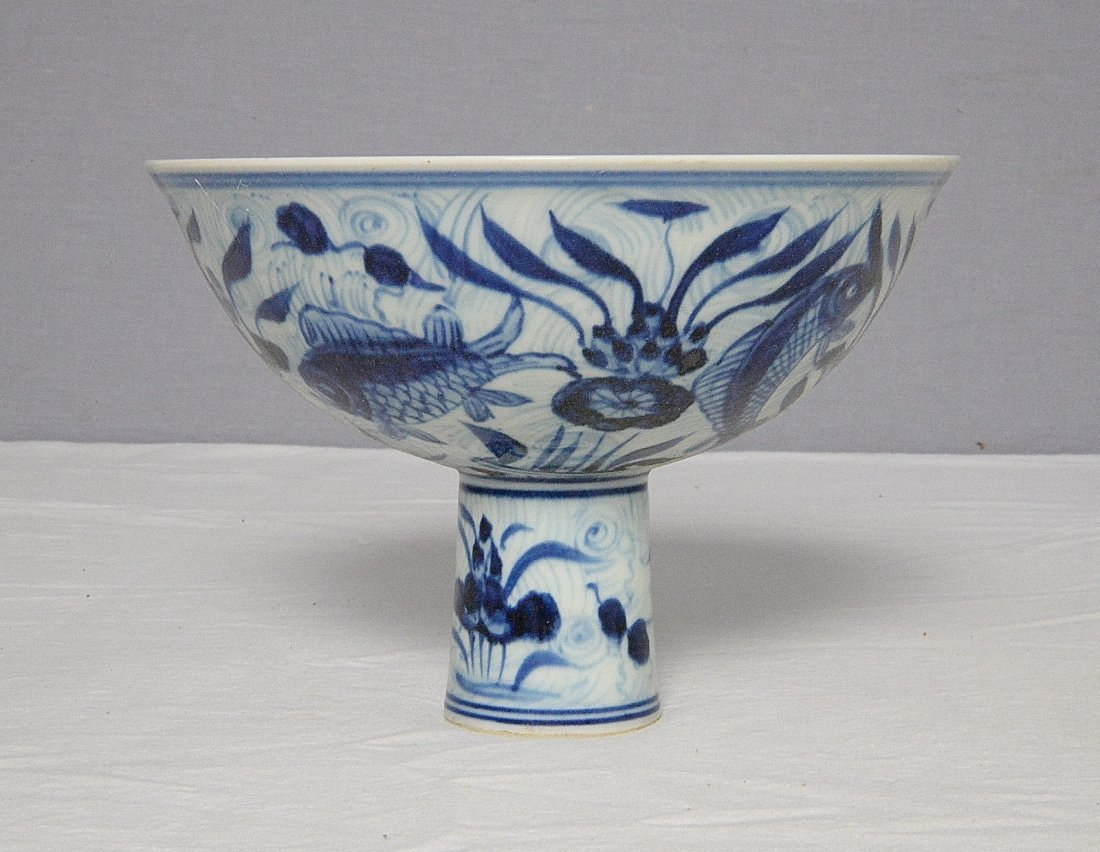 Chinese Blue and White Porcelain Stamp Cup With Mark - 4