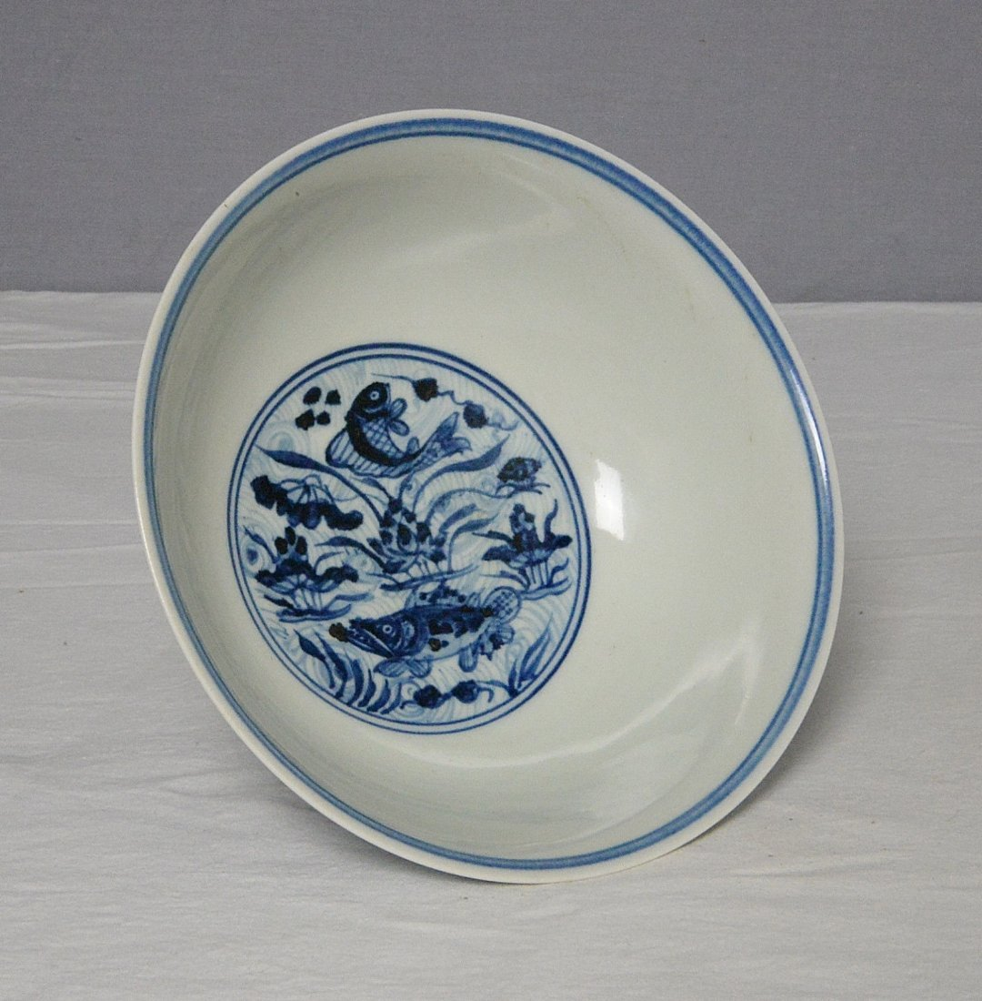Chinese Blue and White Porcelain Stamp Cup With Mark - 5