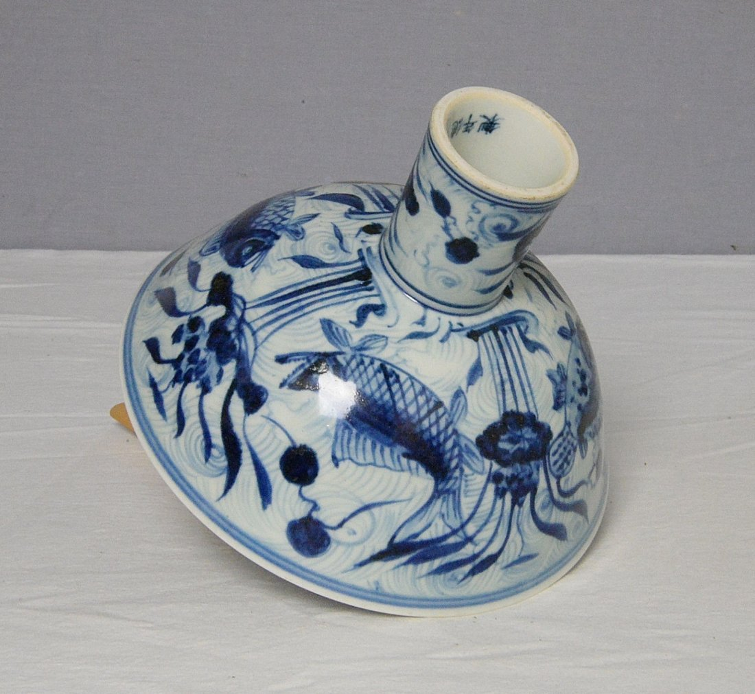 Chinese Blue and White Porcelain Stamp Cup With Mark - 6