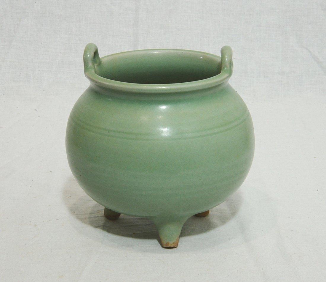 Chinese Celadon Tripod Porcelain Incense Burner