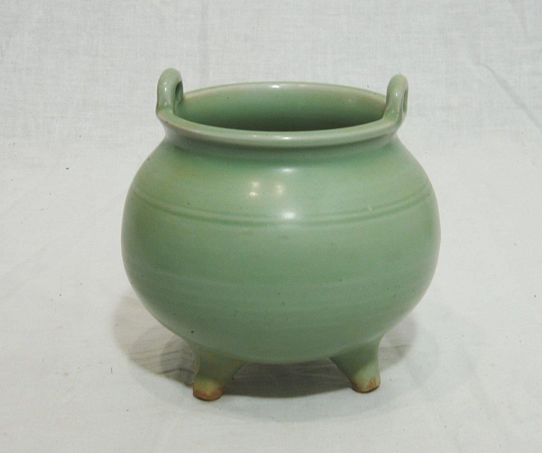 Chinese Celadon Tripod Porcelain Incense Burner - 3