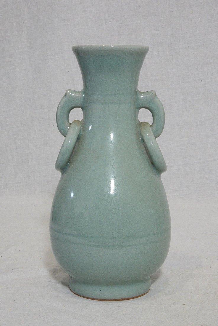 Chinese Green Monochrome Glaze Porcelain Vase - 3