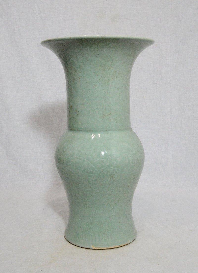 Chinese Monochrome Green Glaze Porcelain Beaker Vase