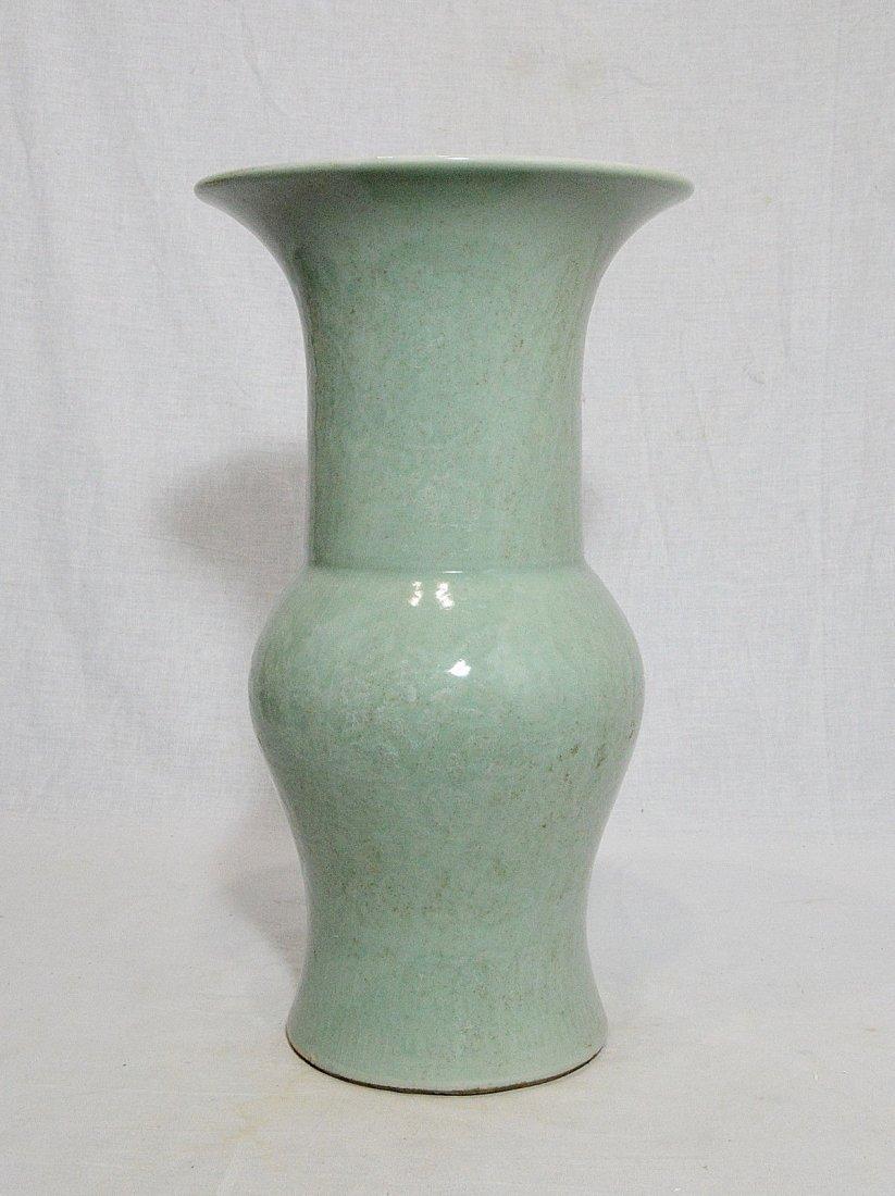 Chinese Monochrome Green Glaze Porcelain Beaker Vase - 2