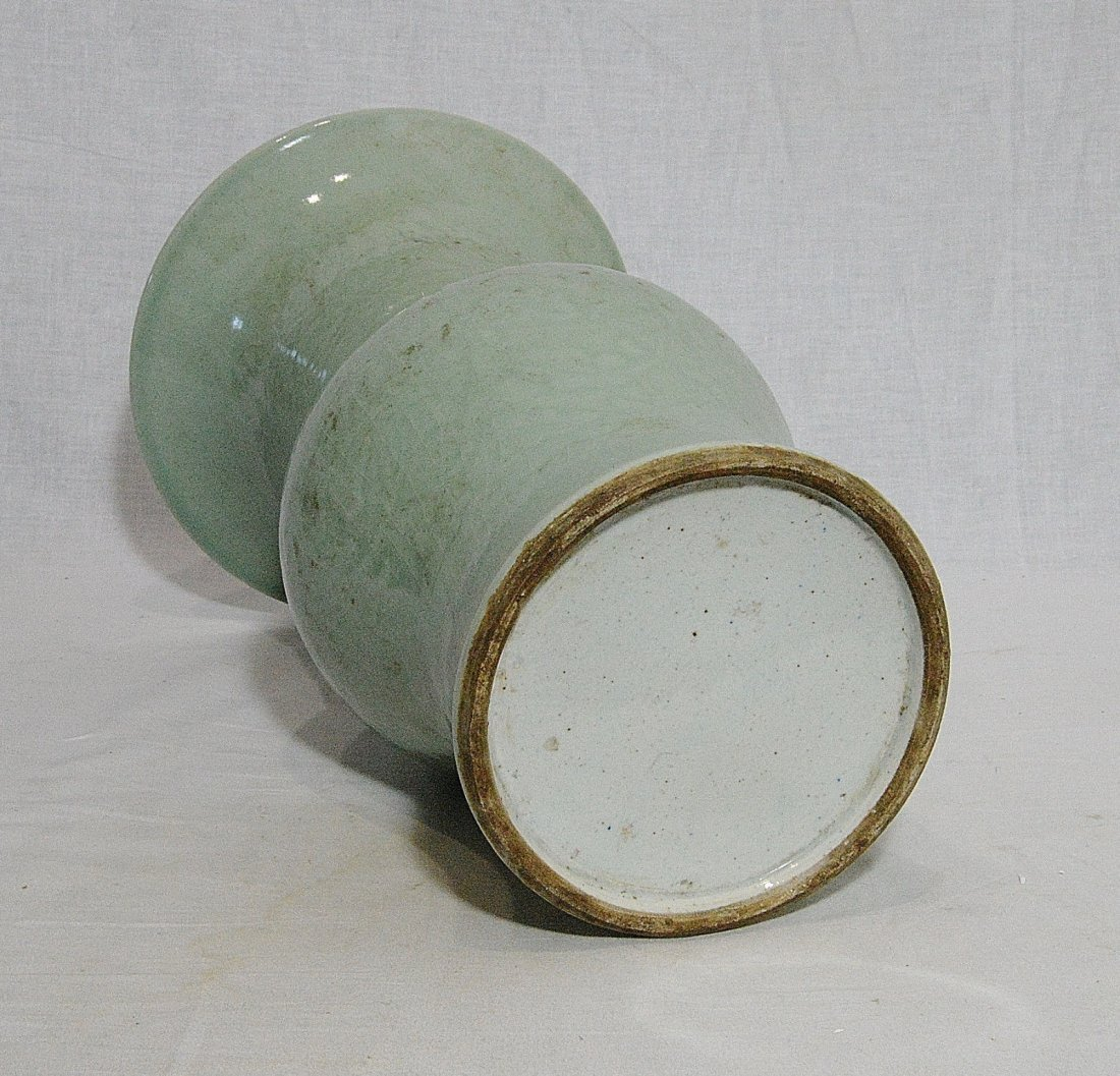 Chinese Monochrome Green Glaze Porcelain Beaker Vase - 4